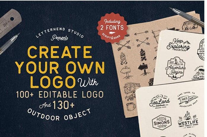 Outdoor-Logo-Creator - 30+ Amazing Hand Drawn Badge Logo Design Templates [year]