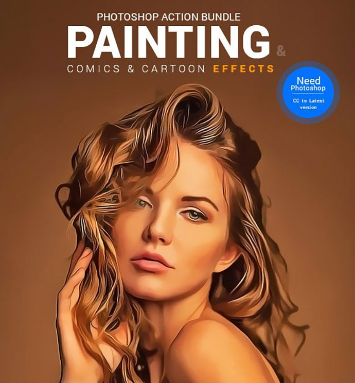 Painting-Comics-Cartoon-Actions-Bundle - 30+ Comic Style Photoshop Actions [year]