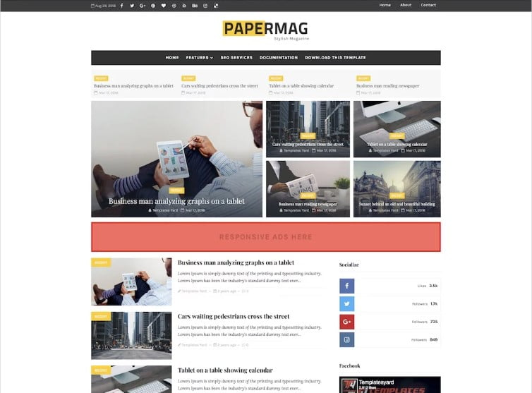 Papermag-1 - 60+ Best Free Responsive News Blogger Templates [year]