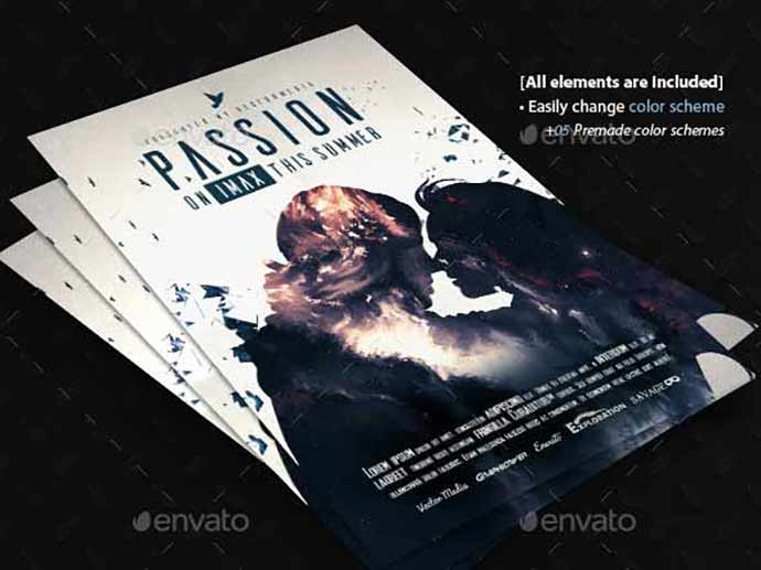 Passion-Movie-Poster-1 - 35+ Attractive Double Exposure PSD Flyer Design [year]