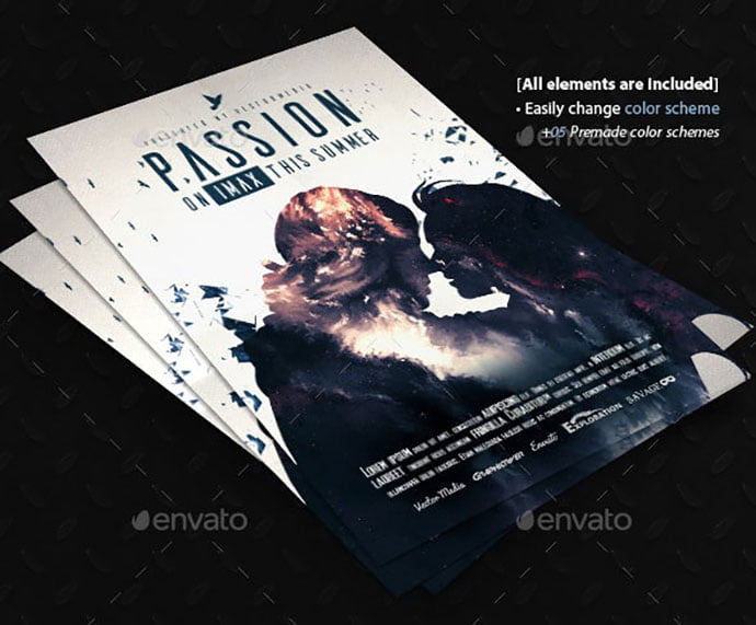 Passion - 35+ Nice PSD Movie Poster Design Templates [year]