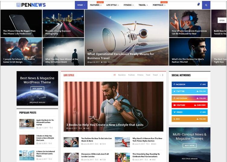 PenNews-1 - Top 60+ News Magazine WordPress Themes [year]