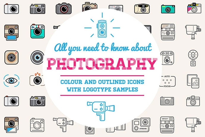 Photo-Color-And-Outlined-Icons-With-Logotypes - 35+ Stunning Photography Icon Sets [year]