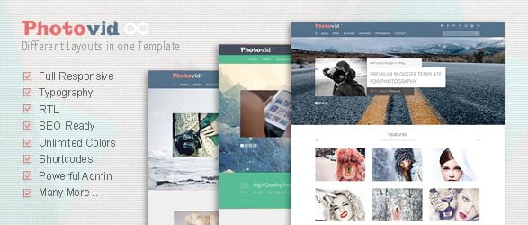 PhotoVid - 35+ Best Stunning Blogger One Page Template [year]