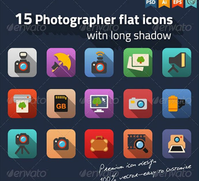Photographer-Flat-Icons - 35+ Stunning Photography Icon Sets [year]