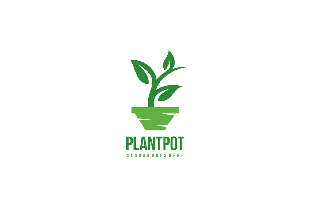 Plant-Pot - 60+ Strong Tree Logo Design Templates [year]