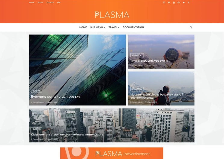 Plasm - 60+ Best Free Responsive News Blogger Templates [year]