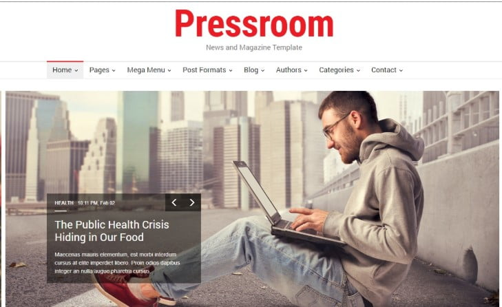 Pressroom - 45+ Responsive News Website Templates [year]