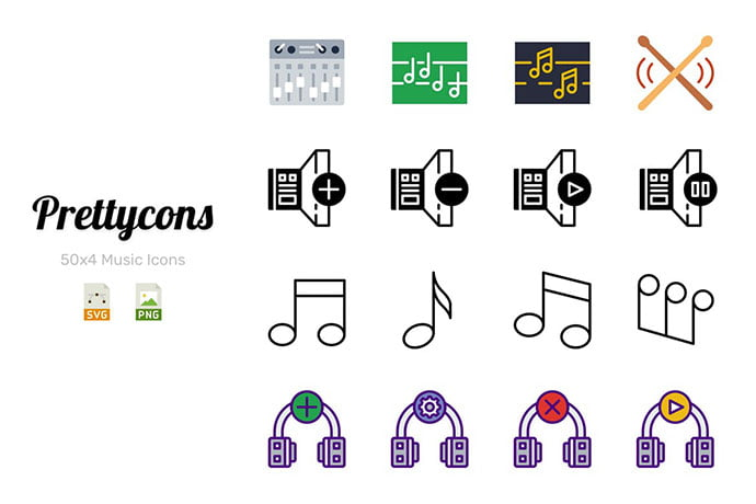 Prettycons-200-Music-Icons-Vol.1 - 35+ Best Music & Sound Icon Sets [year]
