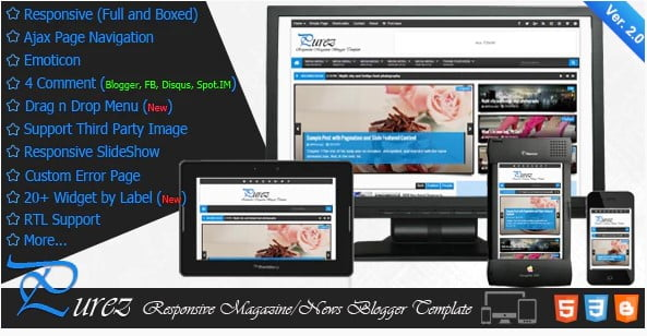 Purez - 35+ Best Stunning Blogger One Page Template [year]