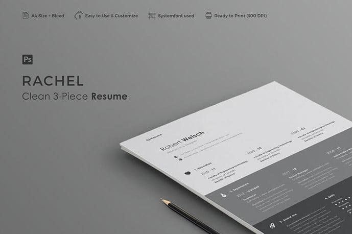 Rachel - 35+ Stunning Black & White Resume Templates [year]