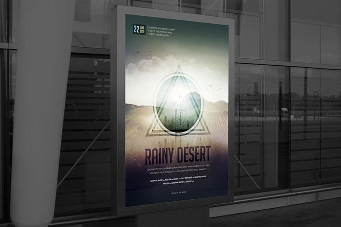 Rainy-Desert-Movie-Poster - 35+ Nice PSD Movie Poster Design Templates [year]