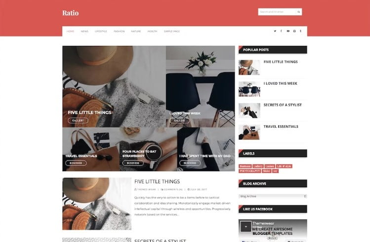 Ratio - 60+ Best Free Responsive News Blogger Templates [year]