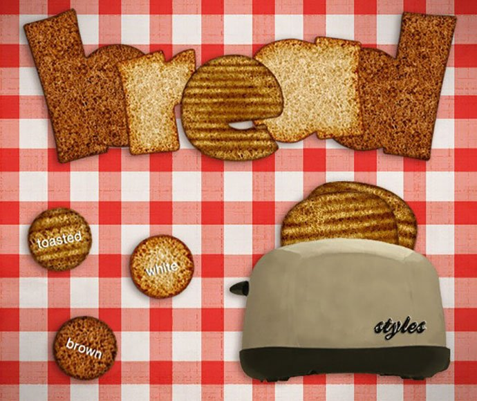 Realistic-Bread-Fx-Styles - 35+ Tasty Food & Drink Photoshop Text Effects