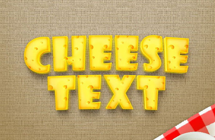 Realistic-Cheese-Text-Effect - 35+ Tasty Food & Drink Photoshop Text Effects