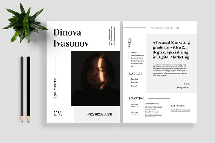 Resume-CV-Vol.-18 - 35+ Stunning Black & White Resume Templates [year]
