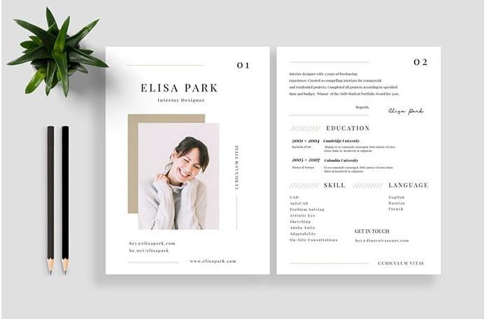 Resume-CV-Vol.-19 - 35+ Stunning Black & White Resume Templates [year]