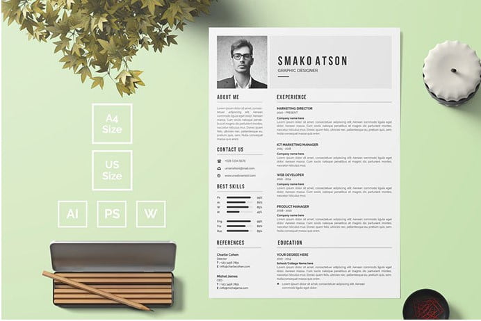 Resume-template-that-matched-with-your-classic-design - 35+ Stunning Black & White Resume Templates [year]
