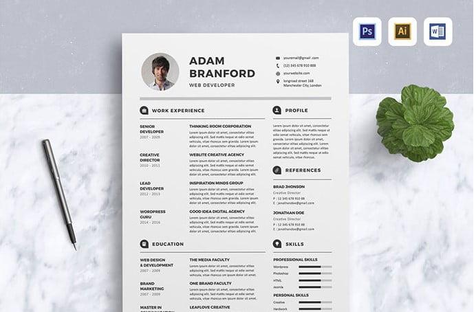 Resume - 35+ Stunning Black & White Resume Templates [year]