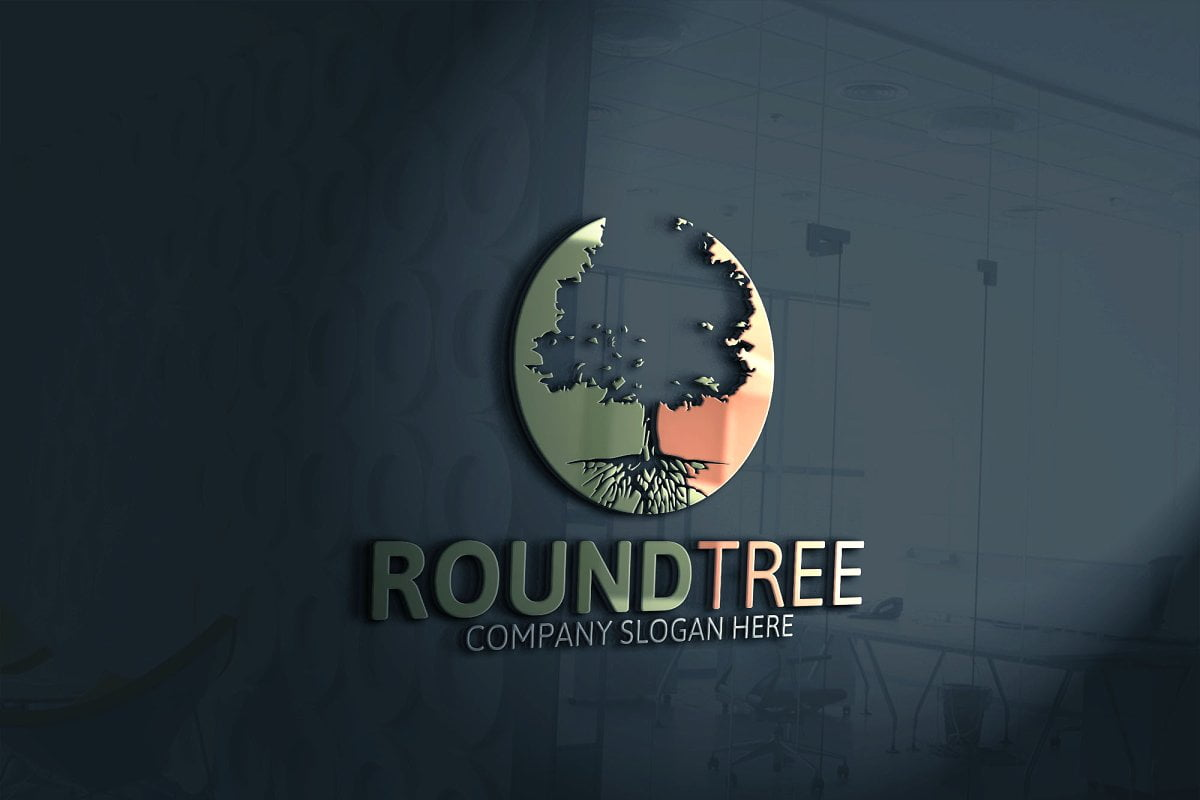 Round-Tree - 60+ Strong Tree Logo Design Templates [year]