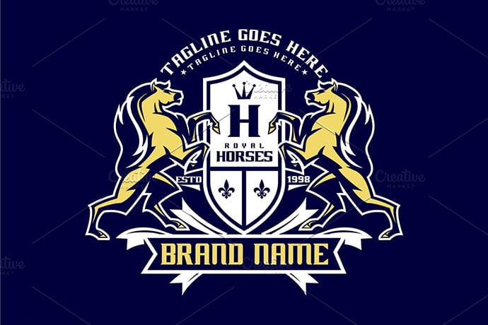 Royal-Horse - 35+ Amazing Heraldry Logo Design Templates [year]
