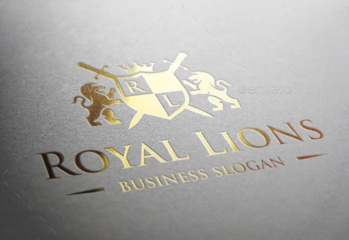 Royal-Lions-Heraldic-Crest-Logo - 35+ Amazing Heraldry Logo Design Templates [year]