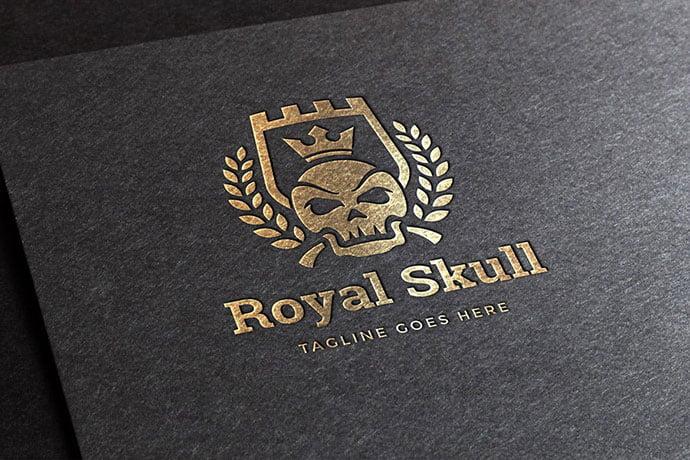 Royal-Skull-Logo-Template - 35+ Amazing Heraldry Logo Design Templates [year]