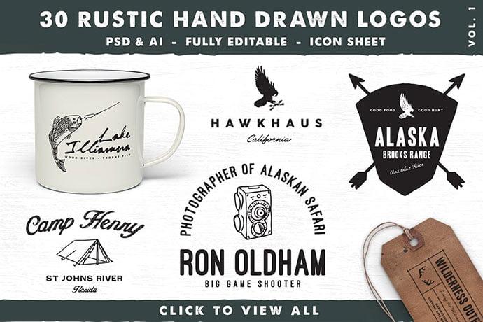Rustic-Hand-Drawn-Logos - 30+ Amazing Hand Drawn Badge Logo Design Templates [year]