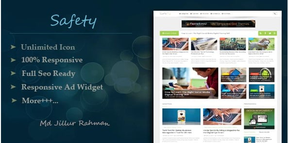 Safety - 35+ Amazing One Page Inventive Blogger Template [year]