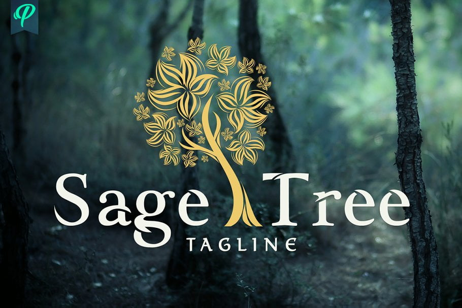 Sage-Tree-Logo-Design - 60+ Strong Tree Logo Design Templates [year]