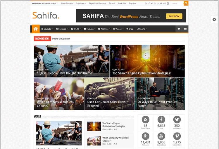Sahifa - Top 60+ News Magazine WordPress Themes [year]