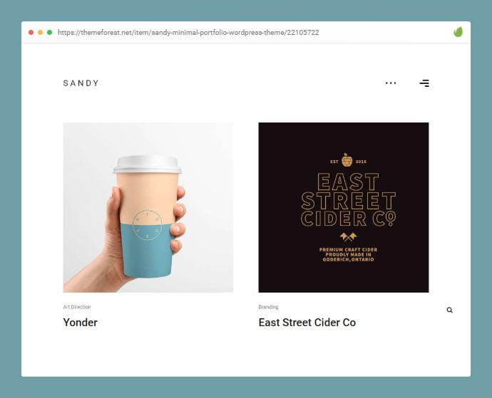 Sandy - 35+ Minimal WordPress Theme Designs For Creatives [year]