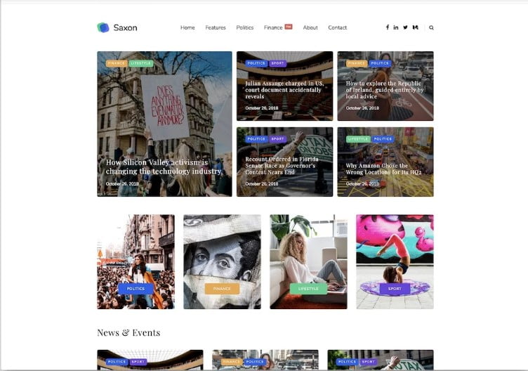 Saxon - 46+ Best WordPress Newspaper Themes for News Sites [year]