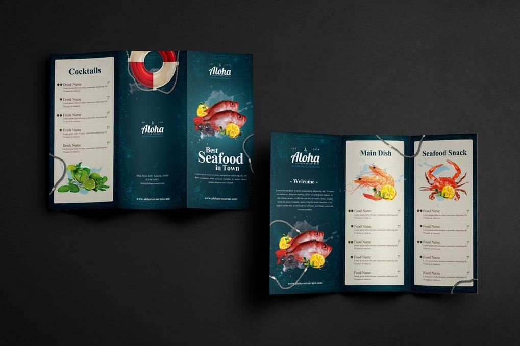Seafood-Menu-3-Fold - 60+ Bi-fold & Tri-fold Brochure Design Templates [year]