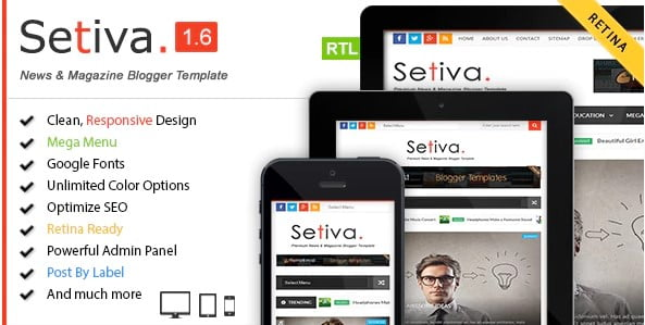 Setiva - 35+ Amazing One Page Inventive Blogger Template [year]