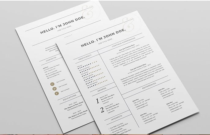 Sharp-and-Professional-Template - 35+ Stunning Black & White Resume Templates [year]