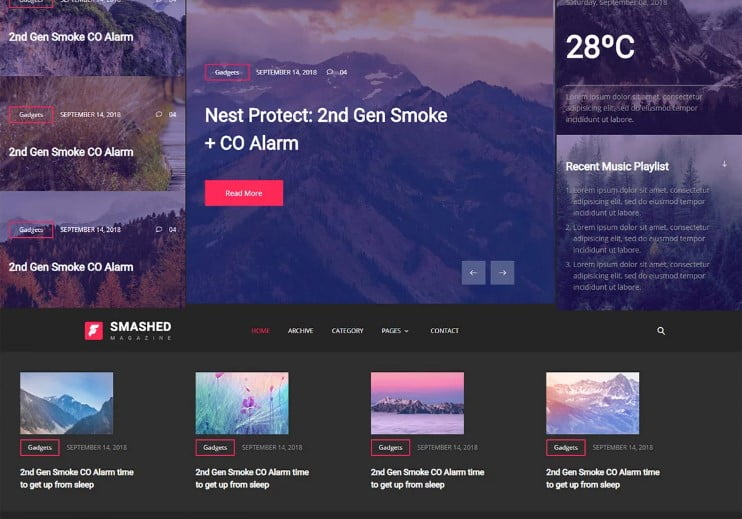 Smashed - 42+ Best Free News Website Templates [year]