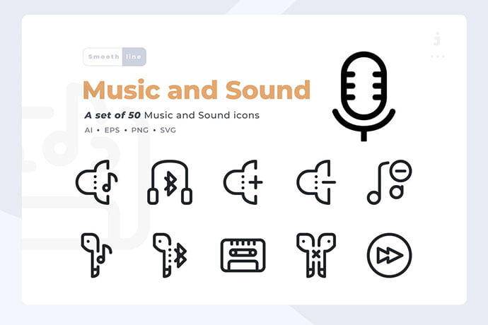 Smoothline-50-Music-and-Sound-icon-set - 35+ Best Music & Sound Icon Sets [year]