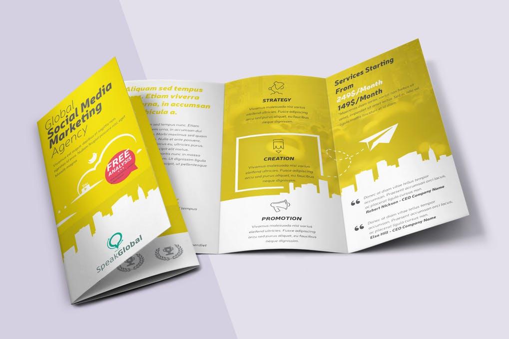Social-Media-Tri-fold-Brochure - 60+ Bi-fold & Tri-fold Brochure Design Templates [year]