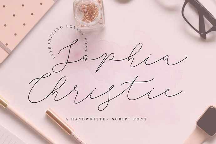 Sophia-Christie-Script - 52+ Wonderful Fonts for Calligraphy Logo Design [year]
