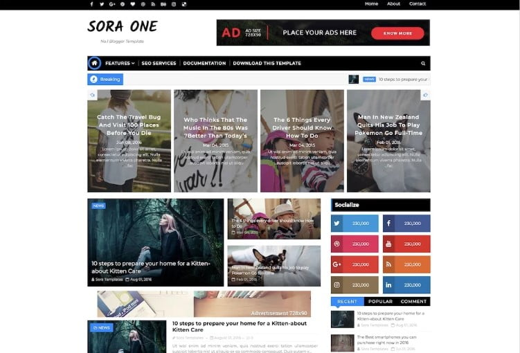 Sora-One - 60+ Best Free Responsive News Blogger Templates [year]