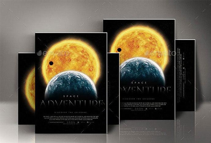 Space-Adventure-Movie-Poster - 35+ Nice PSD Movie Poster Design Templates [year]
