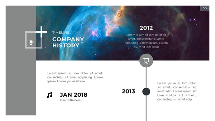 Space-PowerPoint - 30+ Wonderful Timeline PowerPoint Templates [year]