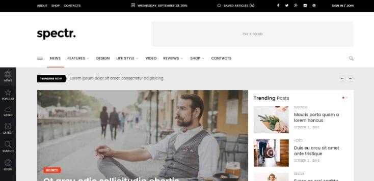 Spectr - 45+ Responsive News Website Templates [year]
