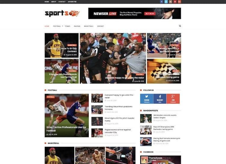 SportsMag - 60+ Best Free Responsive News Blogger Templates [year]