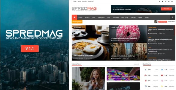 SpredMag-1 - 35+ Amazing One Page Inventive Blogger Template [year]
