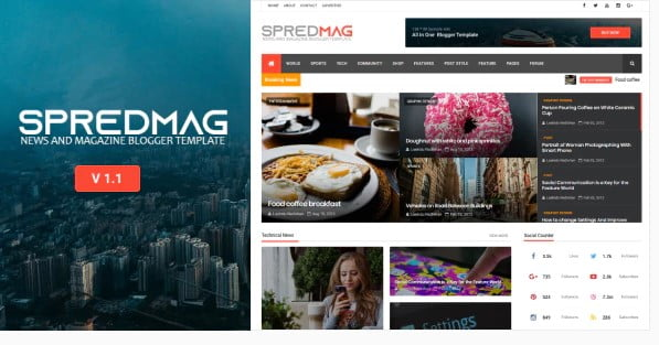 SpredMag - 35+ Awesome One Page Creative Blogger Template [year]