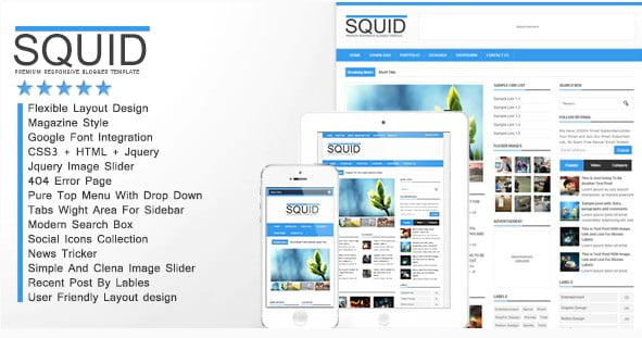 Squid - 35+ Best Stunning Blogger One Page Template [year]