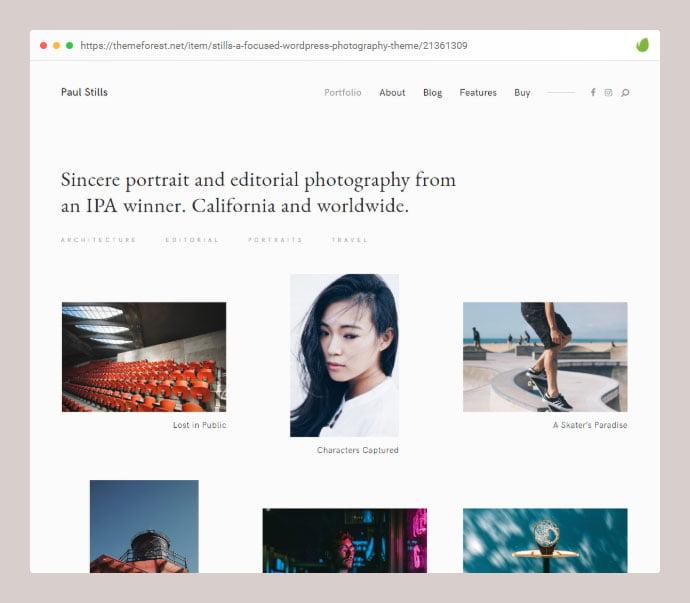 Stills - 35+ Minimal WordPress Theme Designs For Creatives [year]