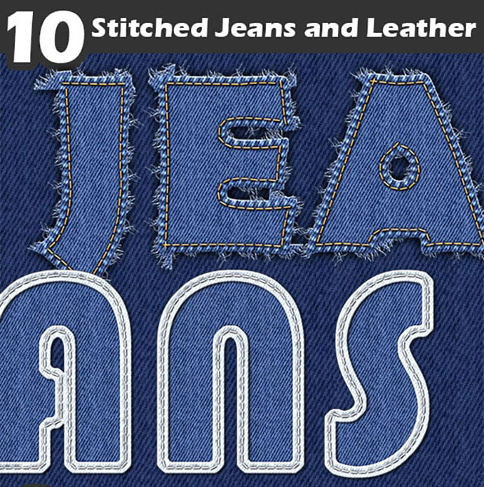Stitched-Jeans-and-Leather - 30+ Embroidery Effect Photoshop Actions & Brushes